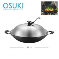 OSUKI Classic Iron Cooking Wok 40cm with Lid (2 in 1)