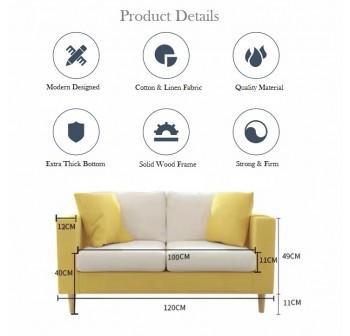 OSUKI Classic Fabric Designer Sofa 2 Seater (FREE 2 Pillow)