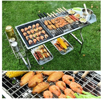 OSUKI Stainless Steel BBQ Grill Folding Barbecue Set (10 in 1)