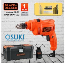 BLACK & DECKER Hammer Drill 10mm with Toolbox & Accessories (TP555KPR-XD)